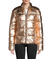 metallic quilted puffer jacket