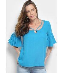 blusa colcci recorte manga sino feminina