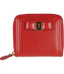 salvatore ferragamo bow detail zip around wallet