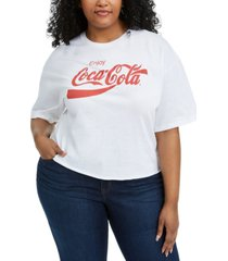 mighty fine trendy plus size cotton coca-cola cropped t-shirt