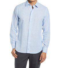 david donahue trim fit dress shirt, size 18.5 in sky at nordstrom