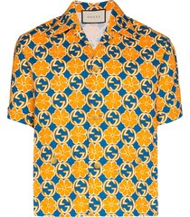 gucci logo print shirt - orange