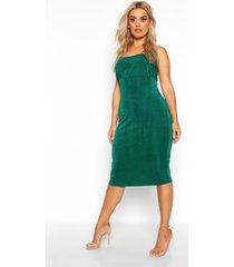 plus geplooide strakke midi jurk met getextuurde bodice, jade