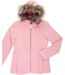 casaco lá capuz removível gingga baby e kids rosa claro - tricae