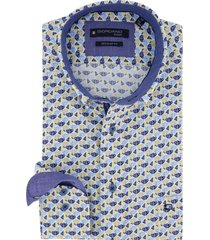 overhemd giordano blauw geel patroon