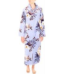 sesoire floral-print french fleece long zipper robe
