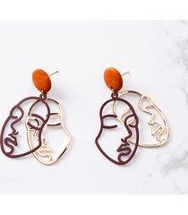 orecchini esagerati moda viso umano in oro colore legno ciondola orecchini per le donne