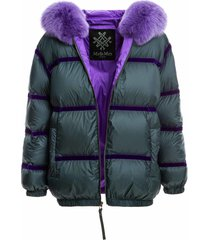 mr & mrs italy hooded puffer jacket with taping design