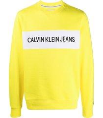 calvin klein jeans logo panel crew-neck sweatshirt - yellow