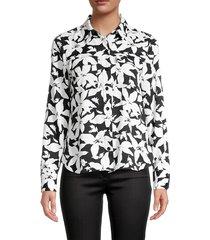 joie women's eastona floral-print shirt - black white - size xs