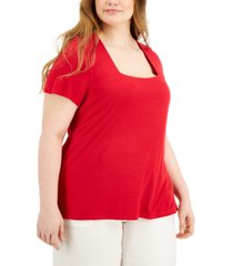 inc plus size square-neck ribbed top, created for macy's