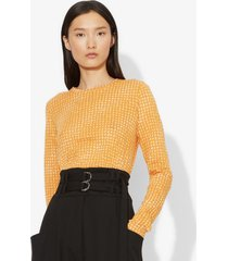 proenza schouler scarf logo print long sleeve t-shirt ochre/ecru scarf/orange xs