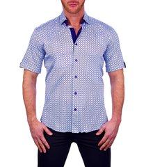men's maceoo galileo shape blue short sleeve button-up shirt