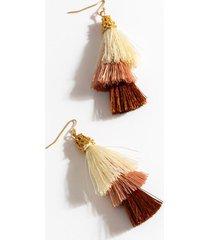 aliyah tiered tassel earrings - rust