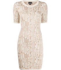 just cavalli all-over logo knit dress - neutrals