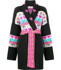 chiara ferragni intarsia knit longline cardigan - black