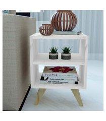 mesa de cabeceira/criado mudo natural & colors 3 prateleiras brancas pé mini único