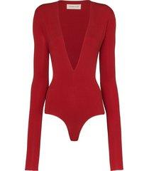 alexandre vauthier square-shoulder v-neck bodysuit - red