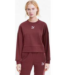 classics cropped damessweater, rood, maat xs | puma
