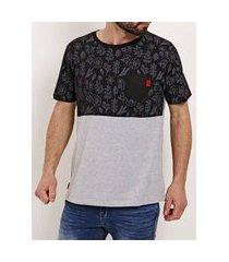 camiseta manga curta masculina no stress preto/cinza