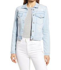 women's rachel parcell distressed denim jacket, size large - blue