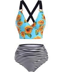 sunflower striped lace up tummy control tankini swimwear