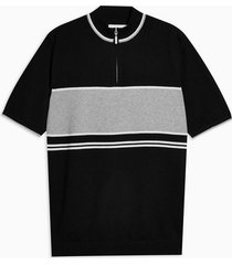 mens black and grey turtle neck panel knitted t-shirt