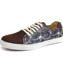 tênis click calçados modelo sapatenis moderno elegante em couro e tecido florido
