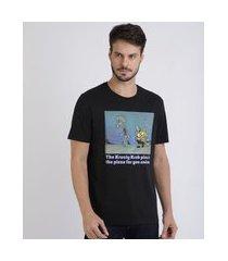 camiseta masculina bob esponja manga curta gola careca preta