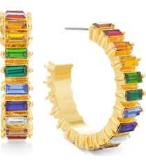 """steve madden gold-tone medium multicolor baguette-crystal c-hoop earrings, 1.22"""""""