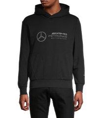 men's puma x amg petronas motorsport logo hoodie - black - size xs