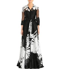 carolina herrera women's jacquard silk-tulle three-quarter sleeve a-line shirt gown - black white - size 4