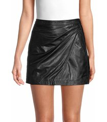 free people women's fake out faux leather mini skirt - black - size 0