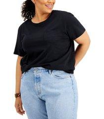derek heart trendy plus size cotton pocket t-shirt