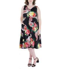 plus size sleeveless v neck floral pocket midi dress