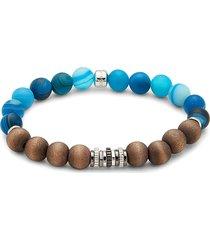 tateossian men's sterling silver, frosted sodalite & wood beaded bracelet
