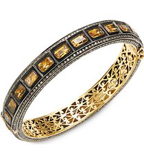18k yellow gold, black rhodium-plated sterling silver, citrine & diamond bangle bracelet