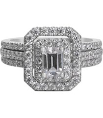 diamond emerald-cut halo engagement ring (1-1/2 t. t.w.) in 14k white gold