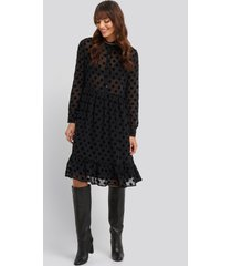 na-kd trend polka dot mesh dress - black