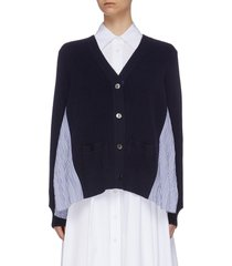 pleated stripe shirt back wool cardigan