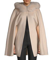 made for generation 800gm fox fur-trim wool cape