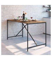 mesa para sala de jantar artesano industrial vermont/preto fosco