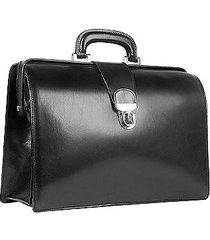 forzieri designer doctor bags, black italian leather buckled medium doctor bag