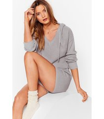 womens knit's in hoodie and shorts lounge set - grey