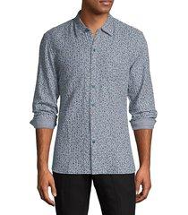 john varvatos star u.s.a. reversible striped floral-print shirt - capri blue - size xl