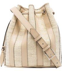 hunting season stripe leather bucket bag - neutrals