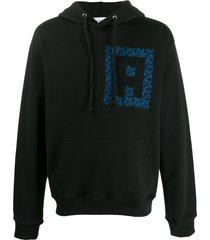 adish embroidered logo hoodie - black