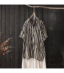 zanzea las mujeres de manga corta a rayas tapas de la camisa del verano da vuelta dow collar de la blusa de la raya -negro