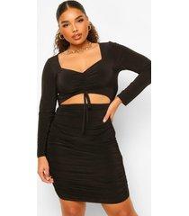 plus zachte geplooide mini jurk met lange mouwen, black