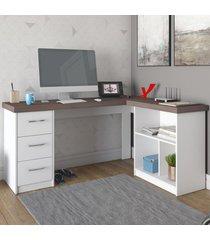 mesa para escritório mali 3 gavetas branco/avelã - artany